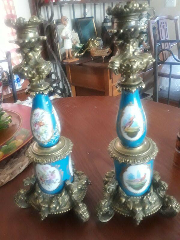 Antique French Sevres Blue Porcelain  Floral /Bird ~ Pair Bronze Candlesticks