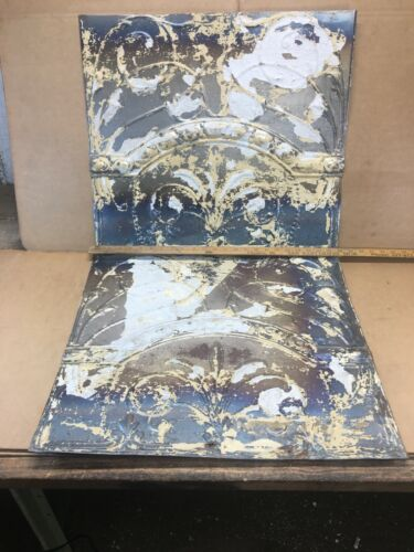 """2 pc Lot 24"""" by 21"""" Antique Ceiling Tin Metal Reclaimed Salvage Art Craft"""