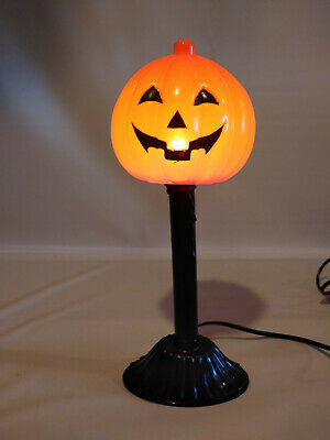 VTG Halloween Pumpkin Jack-O-Lantern Candle Stick Hard Plastic Blow Mold 12""