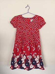 Girls Flowery Red Dress - Size 8 Greenway Tuggeranong Preview