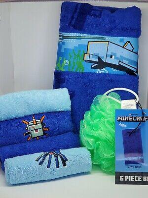 New Minecraft 6 Piece Blue Bath Towel Washcloth Loofah Set Kids Bathroom