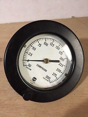 Usg Vacuum Pressure Gauge 0-300 Psi 5 Wide Steampunk Compound