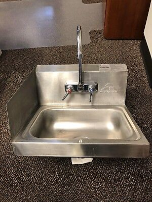 Advance Tabco Hand Sink with Splash Guard Mounted Gooseneck Faucet 17 1/4