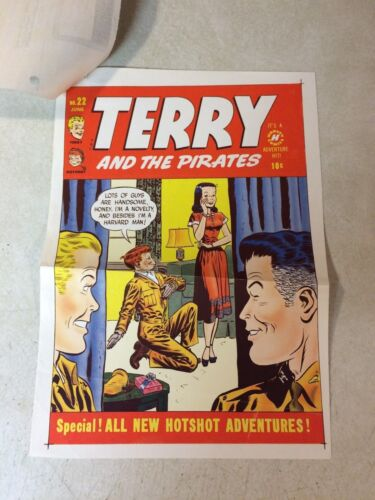 TERRY and the PIRATES #22 COVER ART original cover proof 1950 w/PRINTER INVOICE