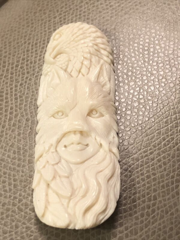 Vintage handwork Buffalo bone Netsuke Necklace Pendant carving Human Wolf ,eagle