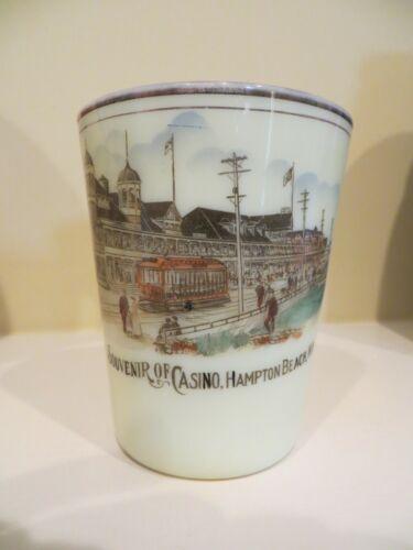 CUSTARD GLASS tumbler SOUVENIR OF CASINO, HAMPTON BEACH N.H. NH Color View NICE