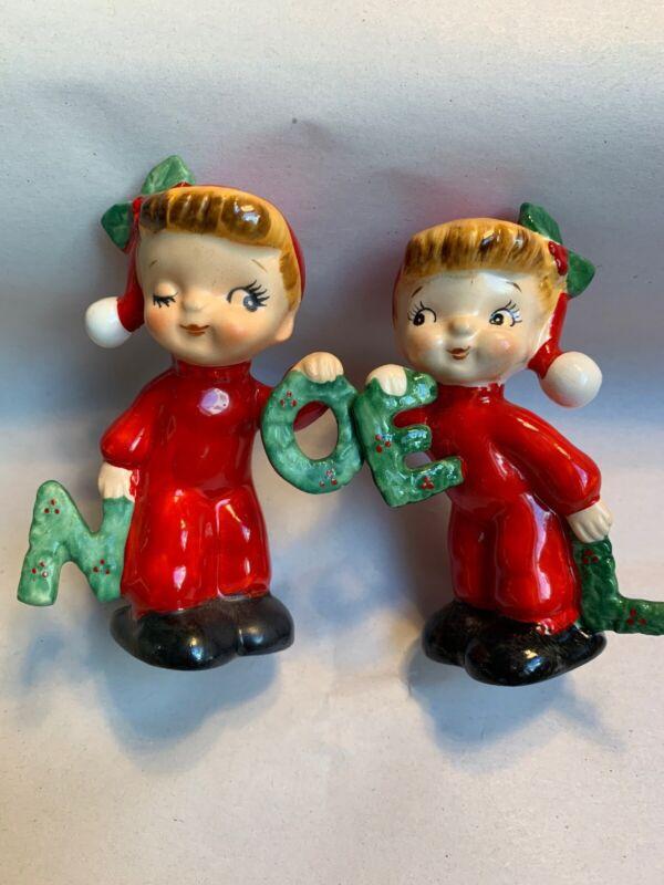 VTG 1956 Napco Noel Salt & Pepper Shakers Orig 1/2 Box Christmas Japan #F2