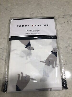 Tommy Hilfiger Lab Labrador Dog Blue Bandana 2 Standard Pillowcases NEW A4 2 Tommy Hilfiger Pillowcases