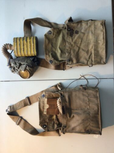 U.S WWI GAS MASK, Yellow can rare with bag complete