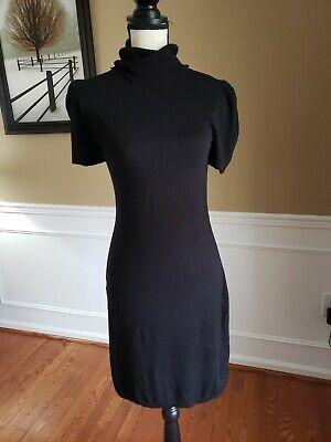 EXPRESS Black Sweater Dress Short Sleeve Turtleneck Stretch size SMALL Very Nice