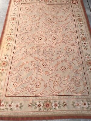Vintage french floral aubusson tapestry rug