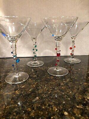 SET OF 4 DECORATIVE MARTINI/COSMO GLASSES WITH BLUE/GREEN/ORANGE AND RED - Orange Martini Glasses
