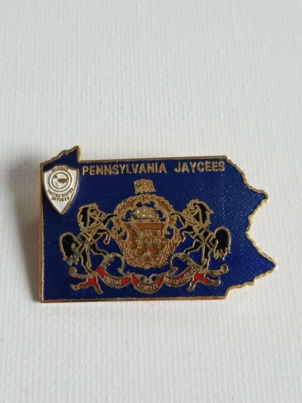 Rare Vintage Pennsylvania Jaycees Lapel Enamel Pin. Blue Pin
