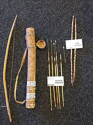 Used, San Bushmen African Kalahari (Bow, Arrows, Quiver & Fire Sticks). Rare for sale  Shipping to Nigeria
