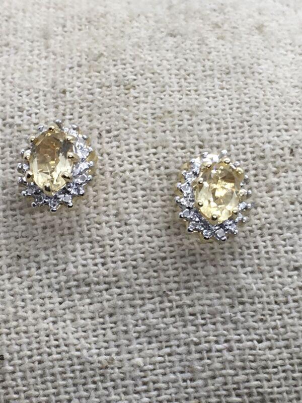 Sterling Silver Citrine Vermeil Post Earrings 6.5mm Stone 1.4g (14-21)