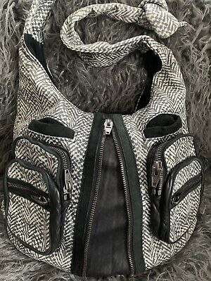 ALEXANDER WANG Large DONNA Printed LEATHER HOBO Shoulder Bag Gunmetal Hardware Leather Print Hobo Bag