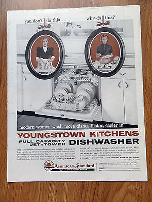 1958 American-Standard Ad Youngstown Kitchens Jet Tower Dishwasher