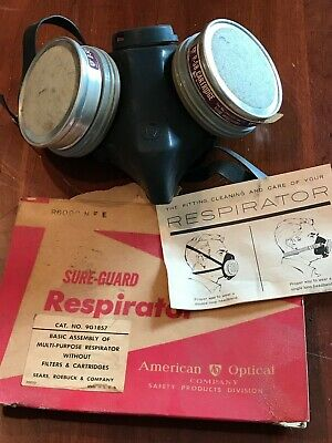 Vintage Mid Century American Optical Respirator With Cartiridges