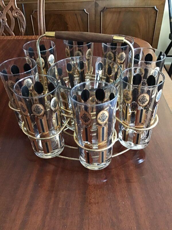Rare Vintage Set 8 Enamel HIgh Ball Glasses Ice Bucket & Holder Carrier Bar