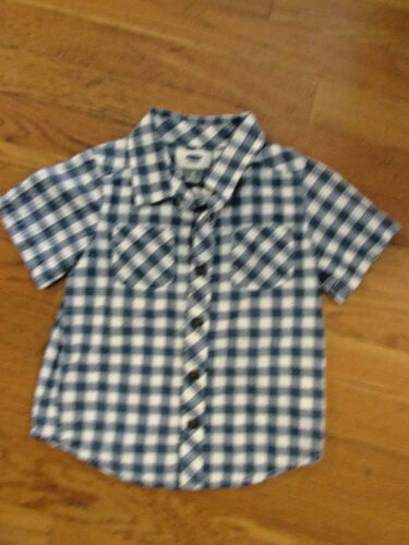 $25 Old Navy Shirt Button Blue Check 100% Cotton Short Sleeve Boys Size 3 T Year