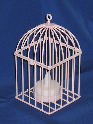 Decorative Bird Cage LED Tealight Candle Holder, Made Of Metal, Color-Lavender (Bird Cage Decoration)