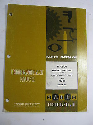 International Hough D-301 Diesel Engine H-60b Pay Loader Parts Catalog Manual