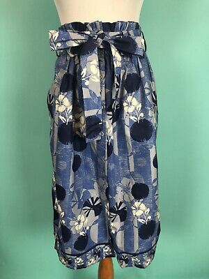 Indego Africa Blue Floral Print Belted Midi Skirt Size S NWT Made in Rwanda