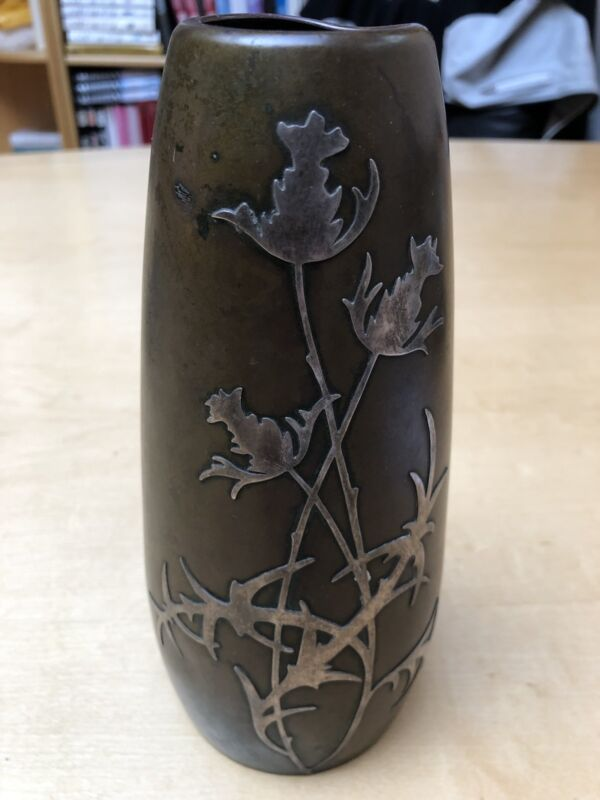 American Antique Sterling On Bronze Flower Vase