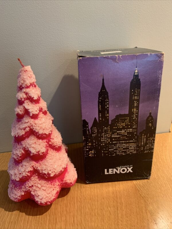 "Vintage Lenox Wax Christmas Tree Candle 12"" Frosted Red Original Box Unburned"