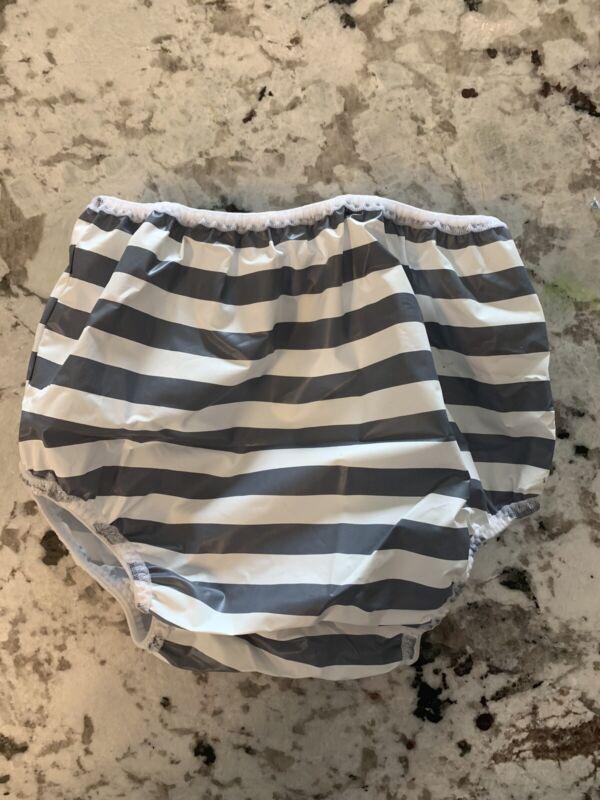 Gerber 12-18 Month Plastic Pants VINTAGE diaper cover Gray Stripes