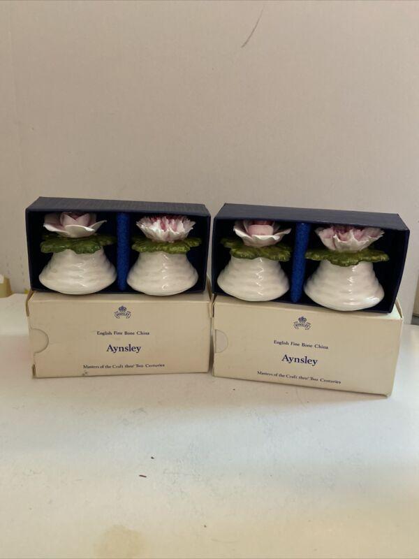 Lot Of 4 Aynsley English Fine Bone China Salt & Pepper Shakers - 2 pairs- In Box