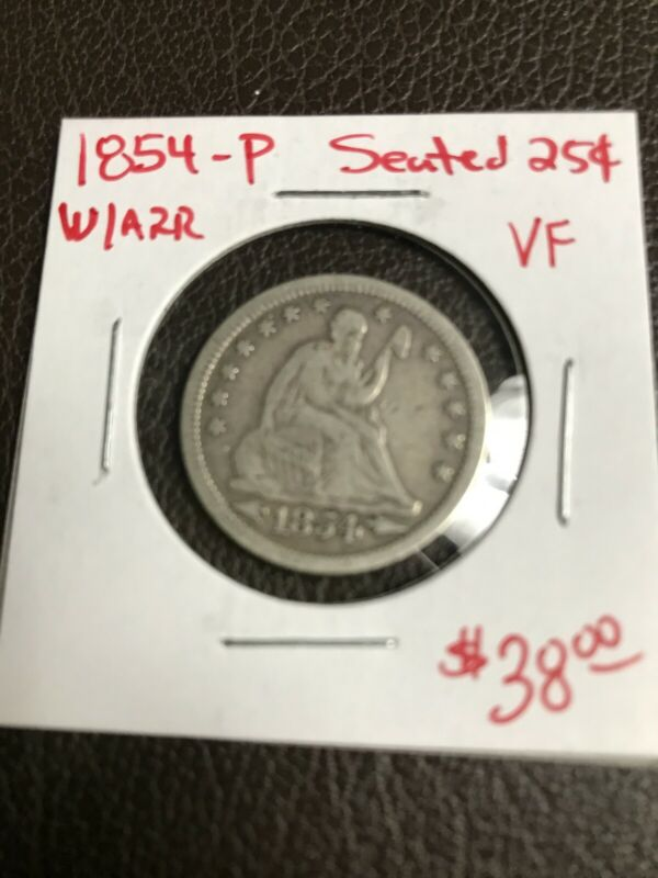 1854-P Seated Liberty Quarter With Arrows VF