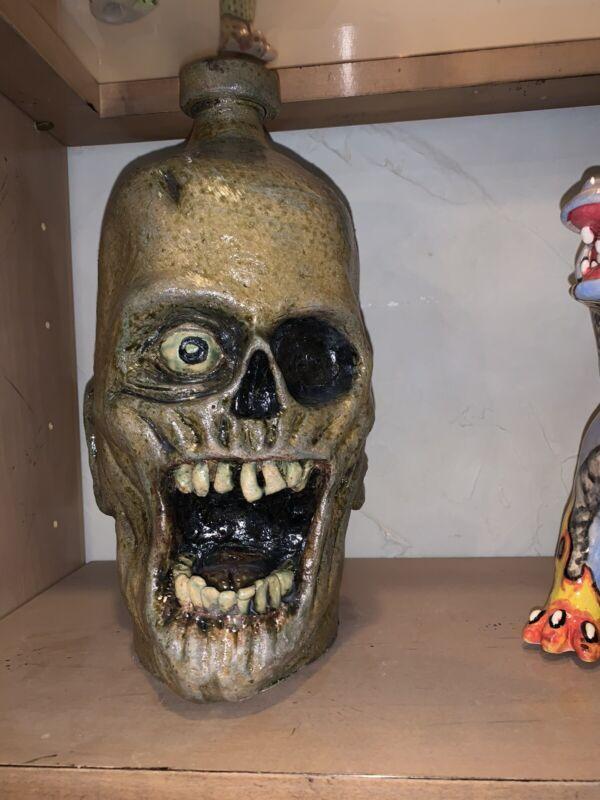 Folk Art Pottery Skull Face Jug By Vonderhey
