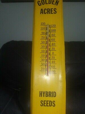 Vintage Golden Acres Hybrid Seeds Barn Thermometer Large