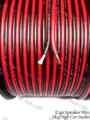 200 Feet True 12 Gauge Awg Red Bk Speaker Wire W  Spool Car Home Audio Ft Ga