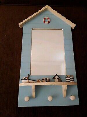 Beach Hut Style Wooden Bathroom Mirror Wall Hanging (Beach Hut Mirror)