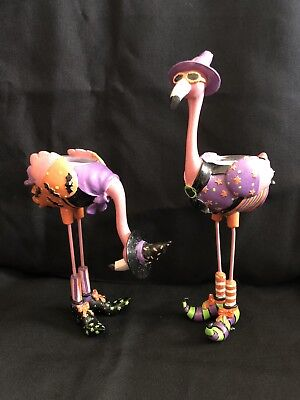 Pink Flamingo Halloween Witch Tea Light Holders Set Of 2 Hand Painted Cast Iron