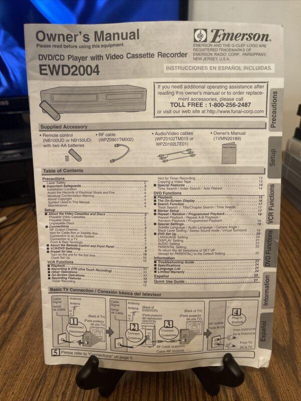 Original Emerson EWD2004 User Manual