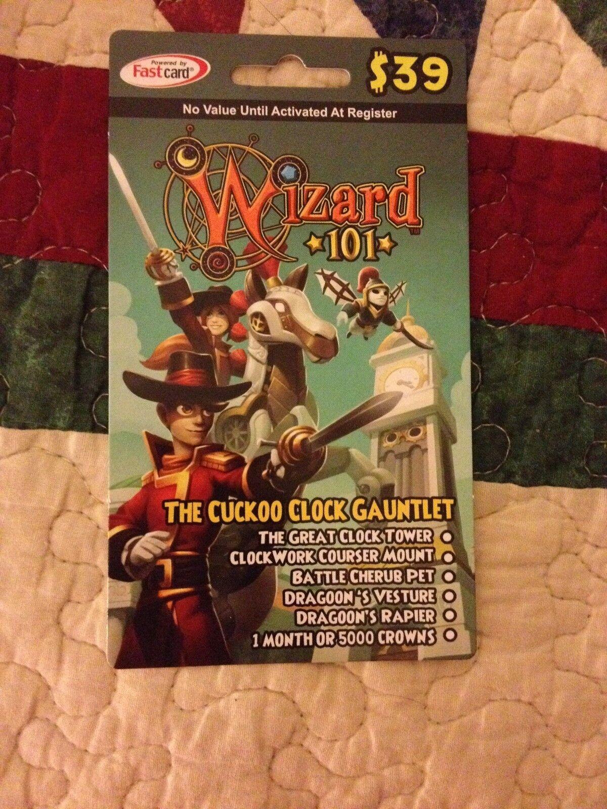New Wizard 101 CUCKOO CLOCK GAUNTLET BUNDLE Card CROWNS Battle Cherub Pet - $65.98