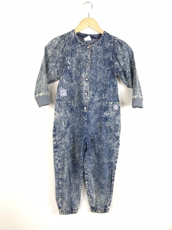 Vintage Little Levis Jean Denim Jumper Romper Long Sleeve Acid Wash Youth 6X