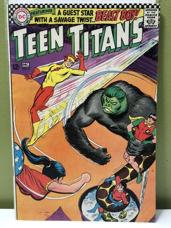 DC Teen Titans #6 1966 Beast Boy Appearance Silver Age Comic