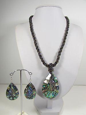 Lee Sands Paua Shell Teardrop Necklace w Glass & Earring set