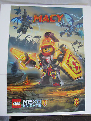 Lego Nexo Knights MACY poster banner paper sign  68cm x 48cm Double Sided NEW - Lego Banner