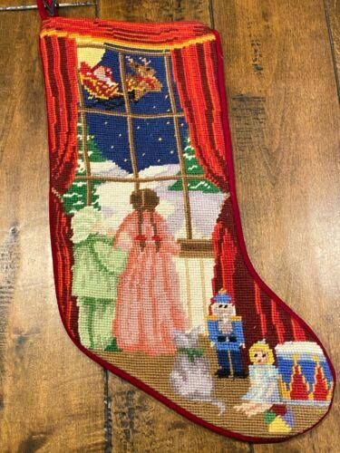 Victorian CHRISTMAS NEEDLEPOINT STOCKING~Velvet*Santa*Sleigh*Toys*Nutcracker*
