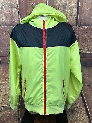 Women's Ideology Full Zip Hooded Lightweight Soft Shell Rain Jacket Neon Size L Neon Soft Shell