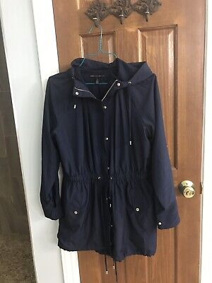 White House Black Market Spring Jacket/Coat -Nautical navy With Silver Zipper. L