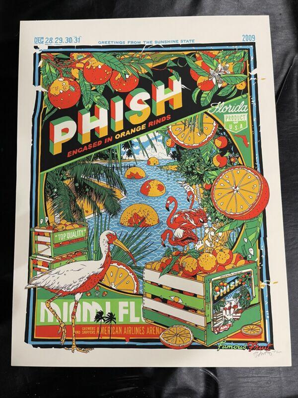 PHISH Miami NYE Run 2009 Poster Signed Print Tyler Stout 12/31 Green/Blue