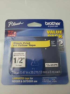 Genuine Brother P-touch Tze-6312pk 12 Black Print On Yellow Tape Pack Of 2