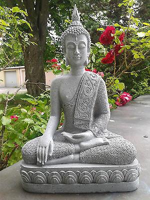 XXL Thai Buddha Budda Figur Statue Feng Shui sitzend Steingrau Neu ca. 40 cm