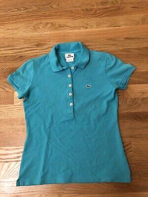 Lacoste Womens Shirt Polo Aqua Teal Blue Short Sleeve Buttons Size 38 Golf